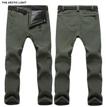 Легсветильник теплые зимние брюки с мягкой оболочкой для мужчин и женщин, водонепроницаемые уличные брюки для кемпинга и походов, флисовые ветрозащитные лыжные брюки