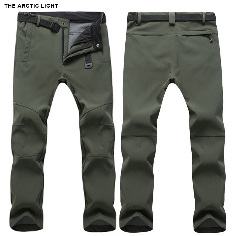 THE ARCTIC LIGHT Warm Winter Woman Men Soft Shell Pants Waterproof Outdoor Camping&hiking Pants Fleece Windproof Skiing Trousers