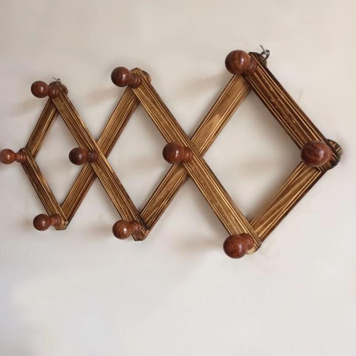 10 hook flexible retractable hanger rack decorative wall shelf bathroom kitchen organizer wooden coat hooks for hanging hanger