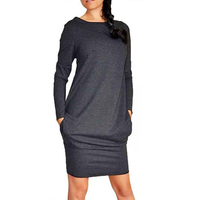 2017 Autumn Winter Casual Long Sleeve Pocket Dress Women S O Neck Loose Plus Size Sheath