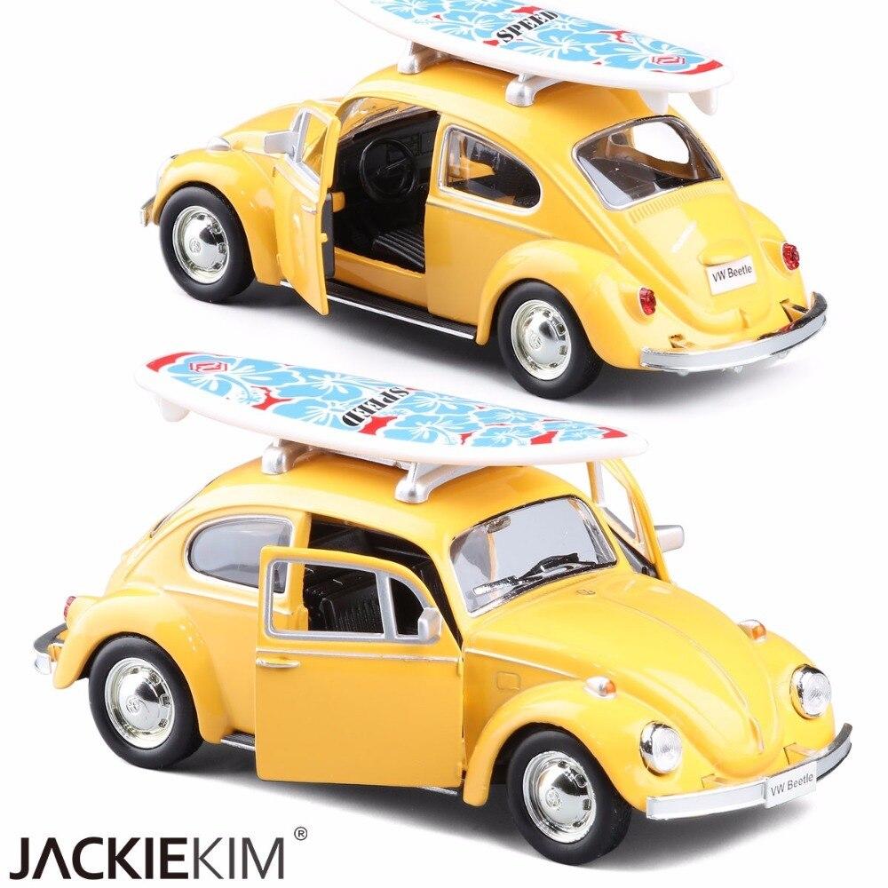 Модель автомобиля игрушки 1/32 масштаб желтый красный Volkswagen Beetle 1967 Винтаж литой с отступить автомобиль для детей игрушки подарок коллекция