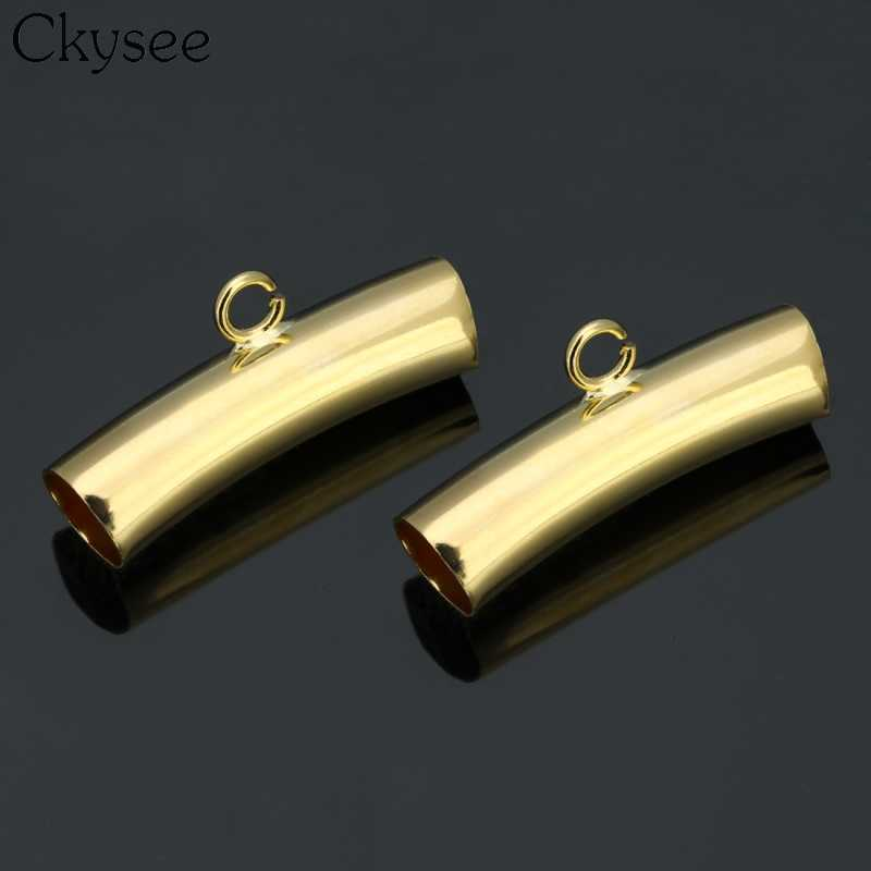 Ckysee nowy 25 sztuk/partia złoty kolor zawieszki złącza zakrzywione instrumentu umorzenia lub konwersji długu rury koraliki modułowe otwór 6.4mm dla majsterkowiczów tworzenia biżuterii