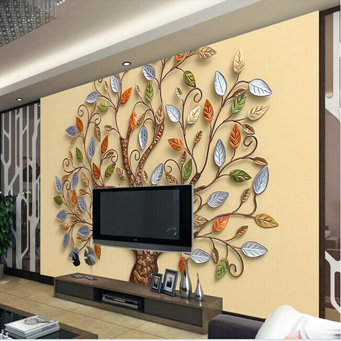 Continental Abstract Color Tree Mural Wallpaper 3d Stereoscopic Romantic Living Room TV Backdrop Photo