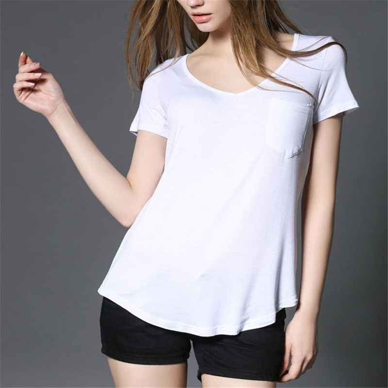 Yuetongme Deep V Neck Pocket Front Simple T Shirt Women