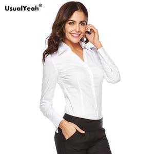 Image 4 - Usualyeah novas camisas formais femininas manga longa corpo camisa turn down colarinho v pescoço ol camisas e blusas listrado azul branco S 4XL