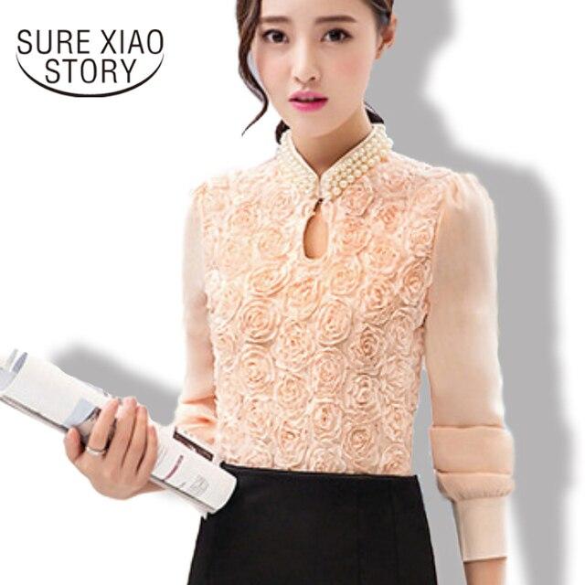 2016 Новинка модные Для женщин с длинными рукавами Повседневное шифоновая блуза Sexy Цветочный чистый элегантный стенд кружева Топы 160E15