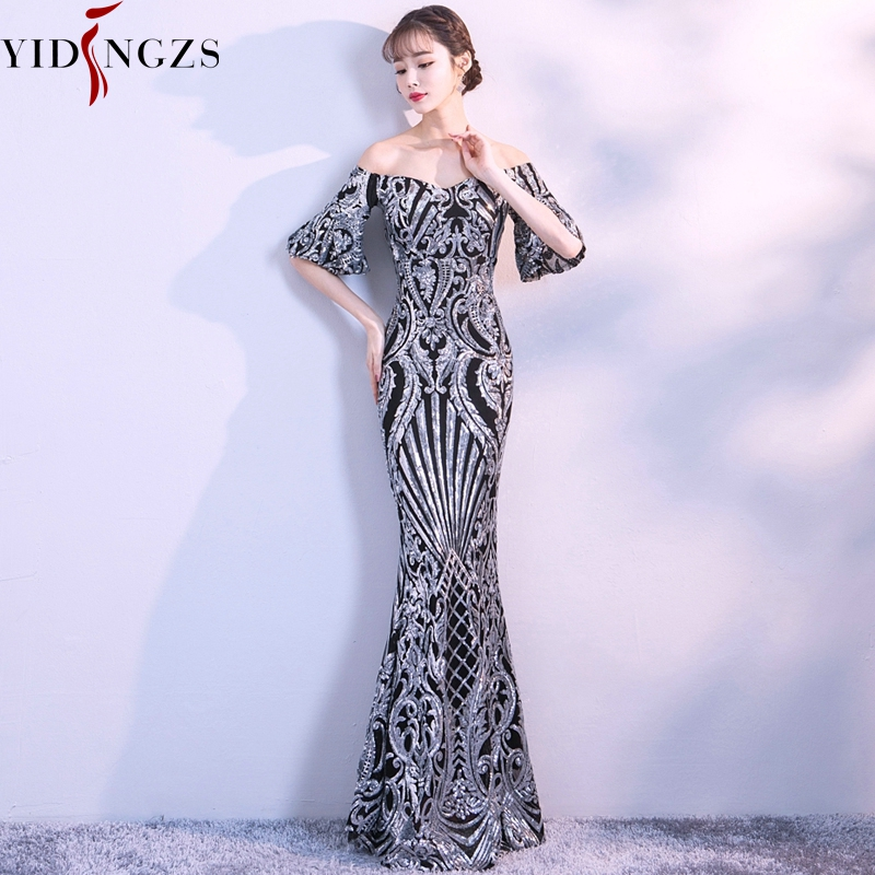 YIDINGZS Flare Sleeve Sequins Prom Dress Boat Neck Formal Party Long Evening Dress