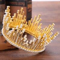 MANWIIBride tocado Barroco círculo completo perla de lujo corona de la novia de la princesa corona de la boda accesorios pelo de la corona ornamentsAQ2088