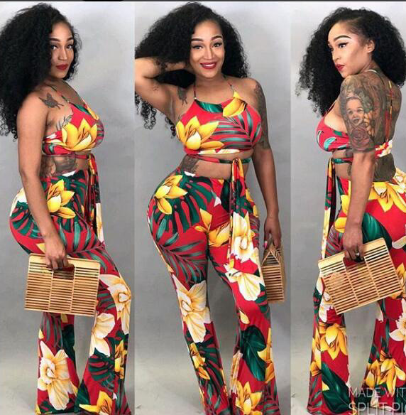 Summer Print Sexy 2 Piece Matching Set Lady Slash Neck Half Sleeve Crop Top And Drawstring Bodycon Long Bell Bottom Pants K9254 Excellent Quality Women's Sets Women's Clothing