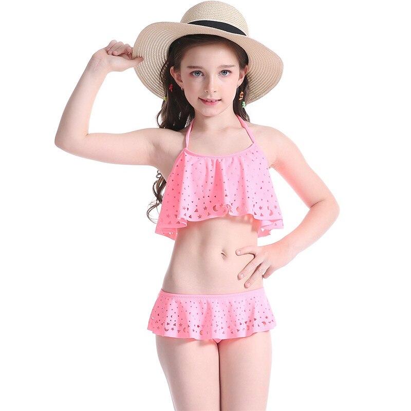 Children S Bikini Girls Two Pieces Swimwear Halter