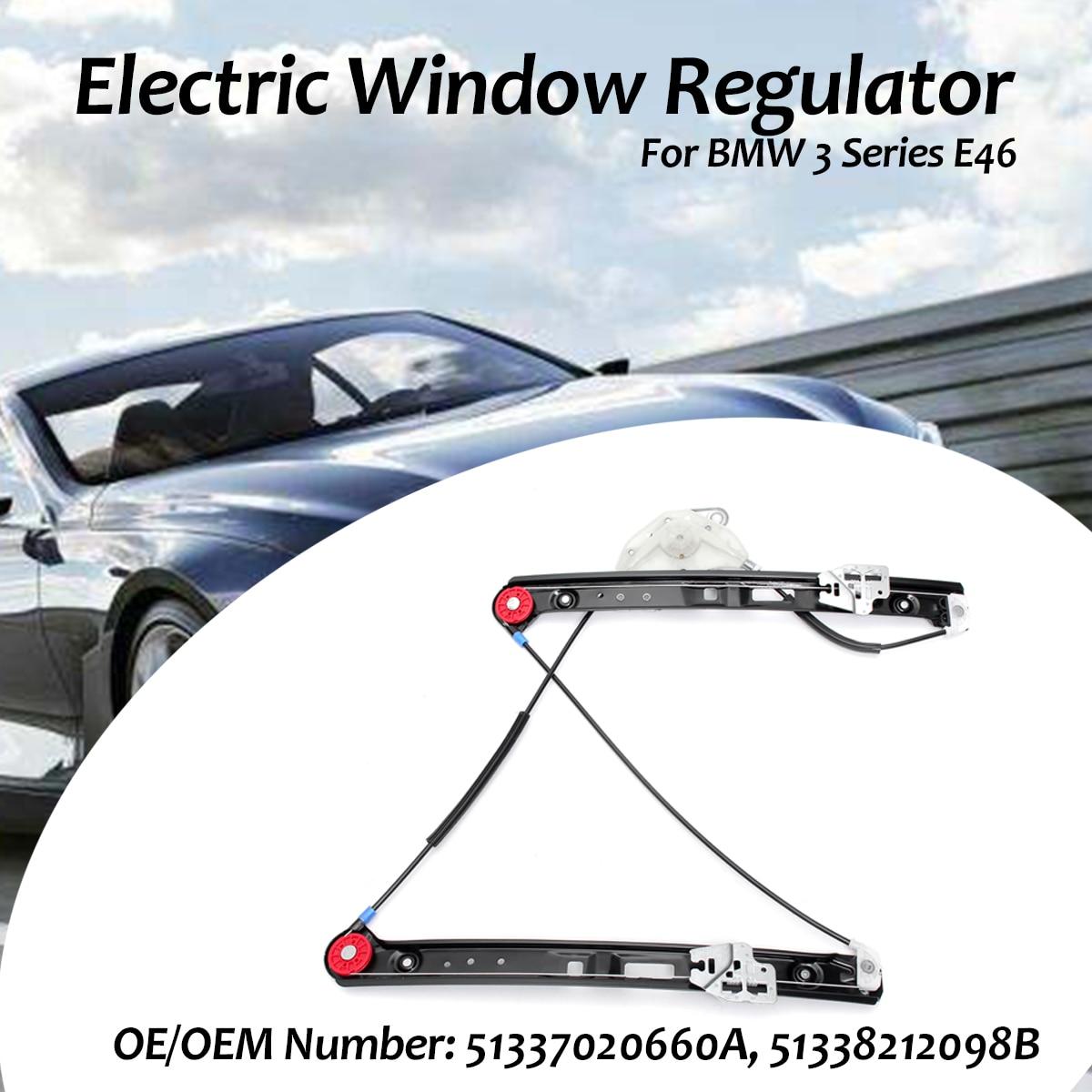 Noir voiture électrique lève-vitre électrique conducteur avant droit lève-vitre Kit de réparation pour BMW 3 Series E46 1995-2008