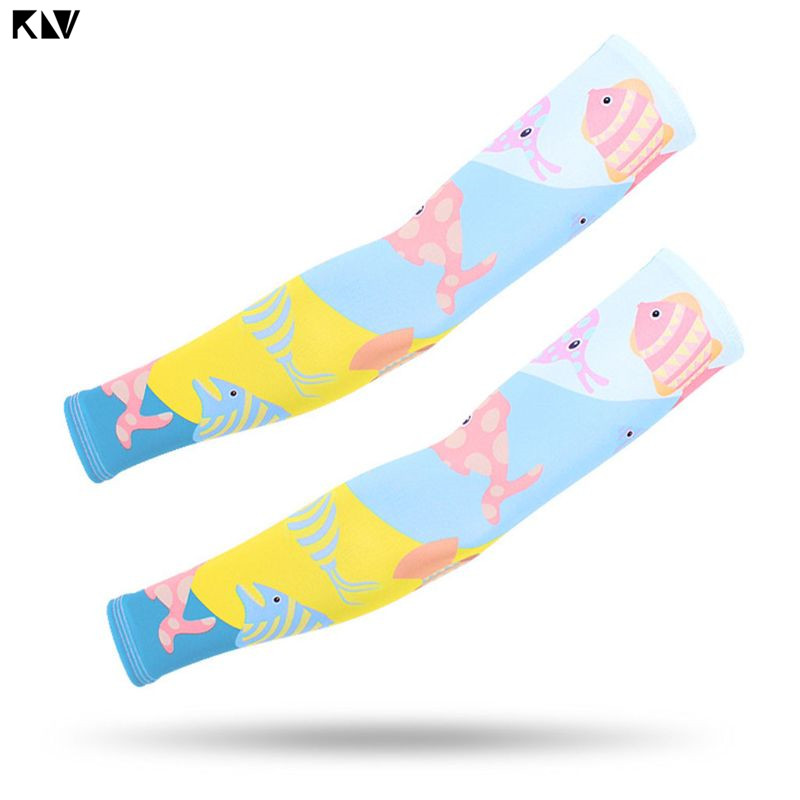 KLV Children Summer UV Protection Ice Silk Cooling Arm Sleeves Cute Cartoon Fish Star Animal Colorful Printed Protective Gloves