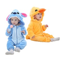 3D Panda Duck Cute Animal Kids Sleepwear Soft Flannel Children Coverall Footed Pajamas Baby Boys Girls Sleepwear Fit 0-24 Month