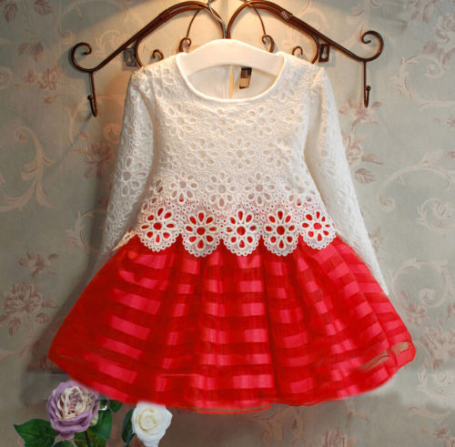 Spring Baby Girls Children Cute Crochet Lace Long Sleeve Dress 2 color 3-8Years