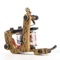 Handmade copper Tattoo Machine 12 coils beautifully carved shader tattoo gun Free Shipping