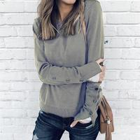 Women Button Split Long Sleeve Top Shirts Round Neck Slim Casual Feminine T Shirts Women'S All Match Clothing WS7530A