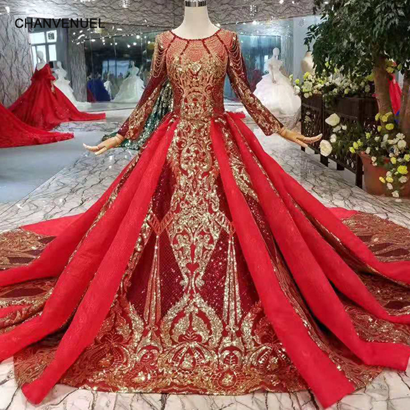 LSS302 luxury shiny women occasion dresses o-neck long  sleeves lace up back golden lace evening dresses long with long train