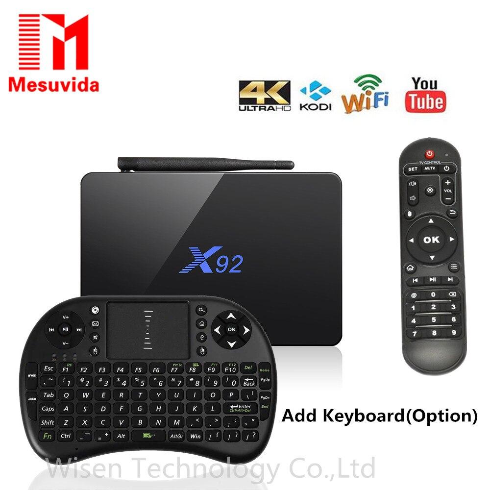 MESUVIDA S912 X92 TV Box Amlogic Android 6.0 окта-ядерный 2.4 ГГц/5.8 ГГц Wi-Fi HD 2.0a USB SD Слот Для Карт Smart TV Коробка 2 Г 3 Г 16 Г 32 ГБ