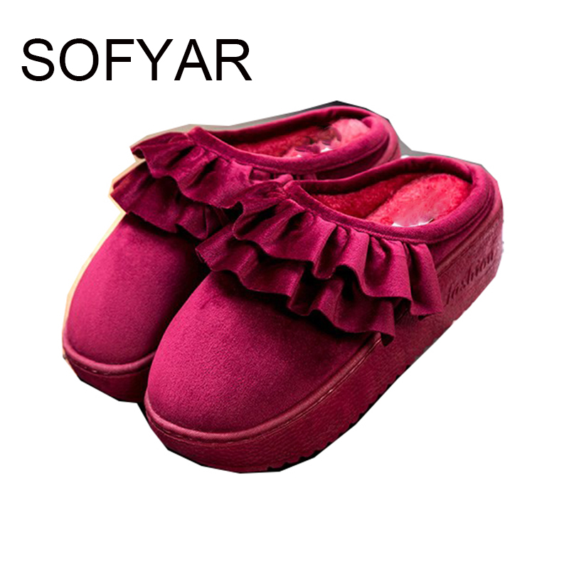 Ms 2017 winter warm thick bottom wear cotton shoes outside comfortable non-slip shoes cute plush lace cotton women slippers
