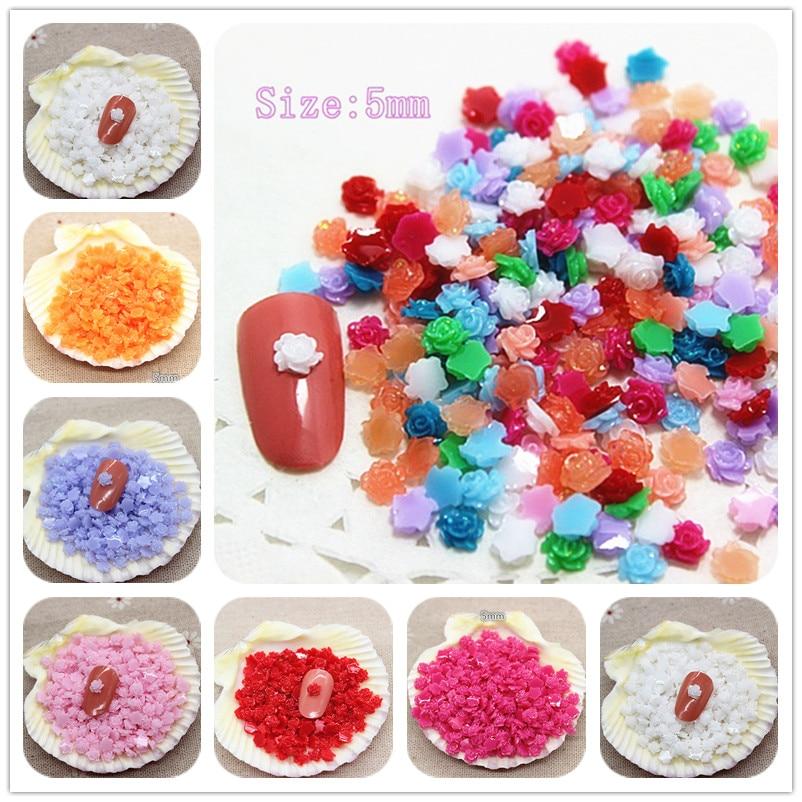 5mm 500pcs/pack Cute Mix Colors Glitter Mini Resin Flowers Flatback Cabochon DIY Nail Decoration