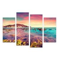 4 Panels HD Prited Seascape In Vải Nghệ Thuật Hoàng Hôn Shore Reef Phong Cảnh Đảo Tường Hình Ảnh Living Room/SJMT1910