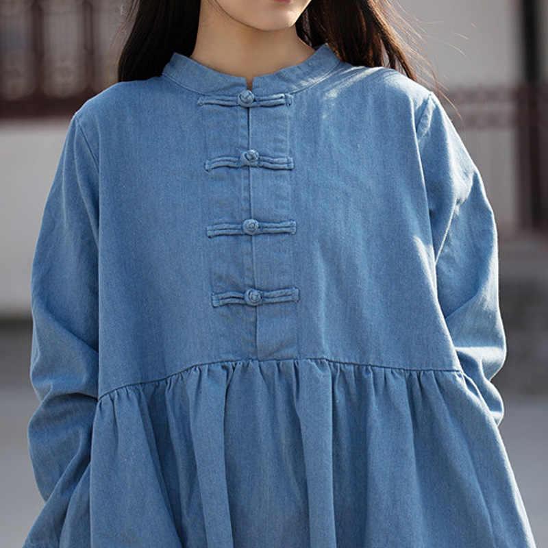 Juniature женское джинсовое платье в винтажном стиле, с длинными рукавами и карманами, новинка 2019 года, весеннее свободное однотонное женское платье на пуговицах