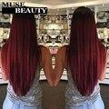 Роза 10A 1B 99J Бразильские Прямые Волосы Ombre Красный Бразильские Волосы 4 Связки Бразильского Виргинские Волос Прямо Бордовый Переплетения Пучки