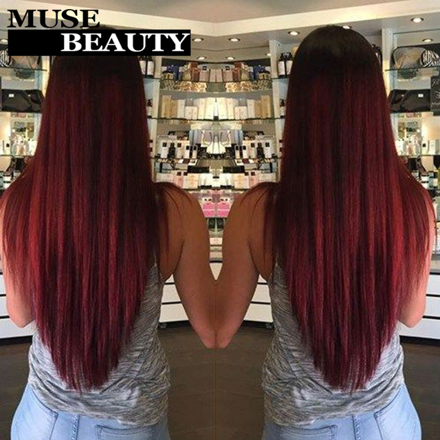 Rosa 10A 1B 99J Brazilian Straight Hair Ombre Red Brazilian Hair 4 Bundles Brazilian Virgin Hair Straight Burgundy Weave Bundles