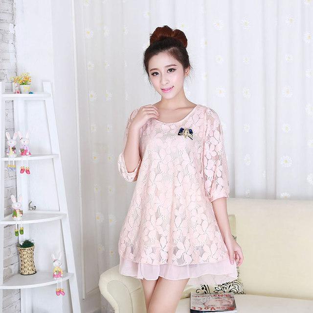 2016 mulheres grávidas maternidade moda coreana vestido de verão mulheres grávidas coreano longa seção de rendas de verão roupa gravidez