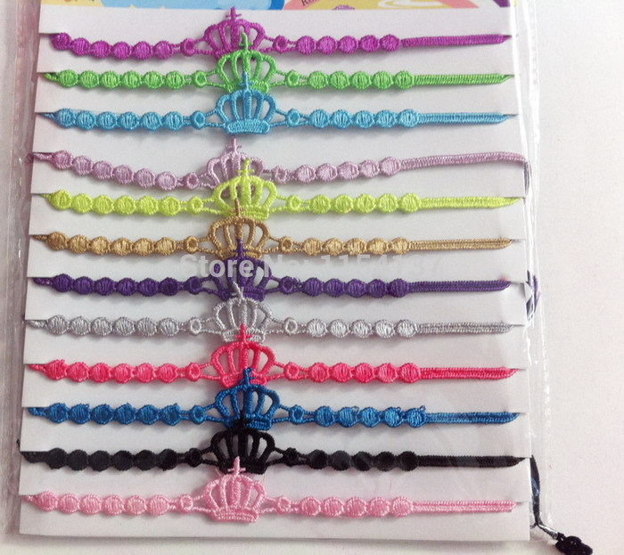 24pcs/bag New design tiara friendship bracelet,handmade woven crown italy lucky lace macrame bracelet jewelry for women