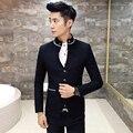 Traje De Cuello chino 2017 Nuevos Hombres Blazer Negro Traje Homme Lujo Estilos de Chaqueta de Los Hombres Gris Mens Blazer Hombre Slim Fit