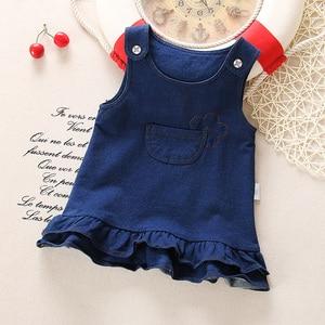 BibiCola baby girls dress summer 2020 newborn baby denim fashion wedding dressess for bebe girls toddler party dress infant(China)