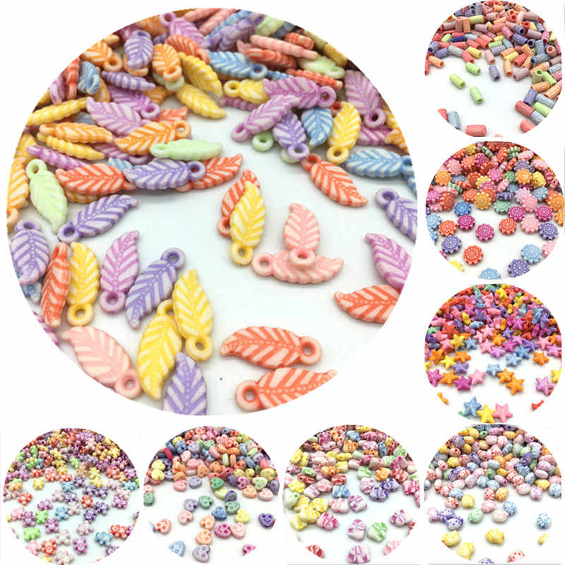 100pcs/Lot New Cheap Many Shapes Acrylic Beads DIY Handmade Bracelet Jewelry Accessories Making Wholesale Color Random Delivery