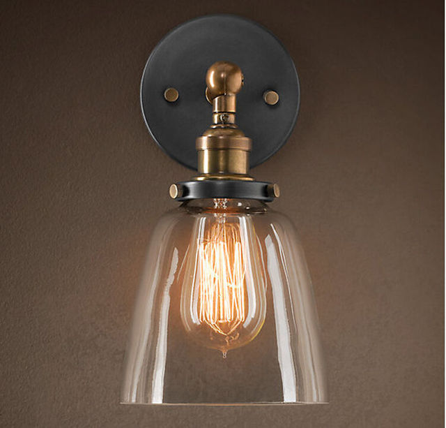 Hot Vintage Industrial Loft Metal Glass Rustic Sconce Wall Lamp Light With  Bulbs Home Light Lamp