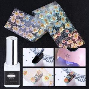 Image 3 - 16pcs Nail Foil Set with Transfer Glue White Lace Holographic Flowers Sticker Nail Art UV Gel Full Wraps Decor Manicure LA931 1