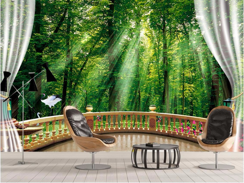 Custom photo 3d room wallpaper mural sunlight green forest picture painting 3d wall murals wallpaper for living room walls 3 d 3d wall murals wallpaper for living room walls 3 d photo wallpaper sun water falls home decor picture custom mural painting