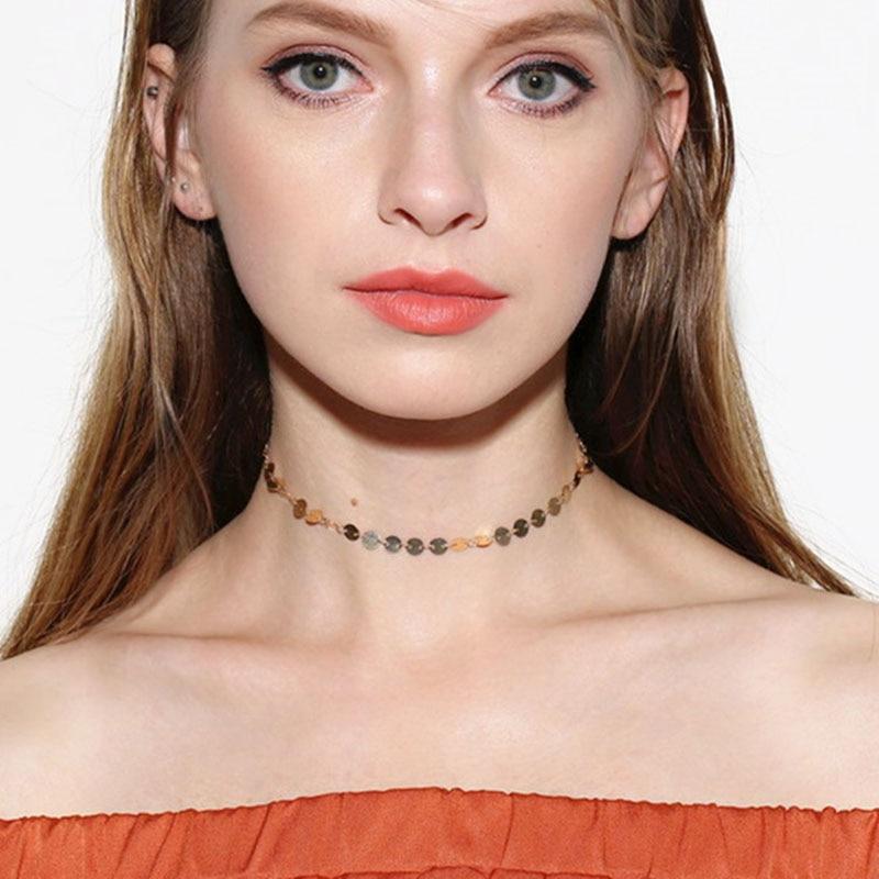 Copper Sequins Necklace Fashion Alloy Round Short Simple Vintage Sequin