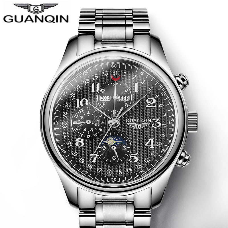 GUANQIN Mens Watch Top Brand Luxury Moon Phase Automatic Mechanical Watch Men Clock Waterproof Sport Watches Relogio Masculino