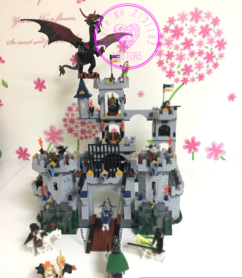 NEW The King's Castle Siege diy Set model Building Blocks Bricks kit Education Toys boy kid Gift 7094 compatable legoes castle batman tumbler bat pot 7105 batmobile joker superman 7115 model building block kit bricks boy compatiable legoes kit gift set