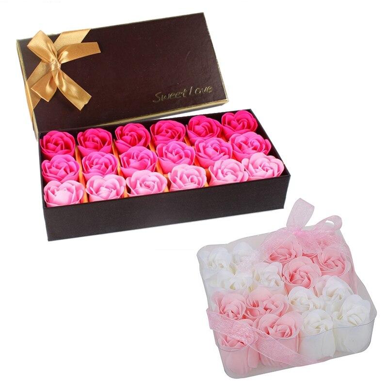 16 Pcs Pink White Bathing Scented Rose Soap Petals & 18Pcs Creative Gradient Simulation Rose Soap Flower Rose Red