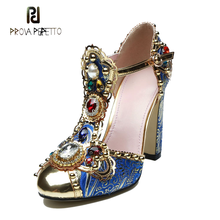 Prova Perfetto fashion rivet t strap high heel shoes women pumps mixed color rhinestone flower real leather sandals high quality stylish women s sandals with color rivet and t strap design