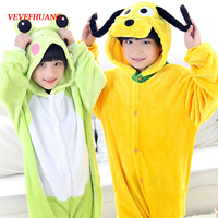 VEVEFHUANG Children Flannel Animal Pajamas Anime Cartoon Costumes Sleepwear Kids Cosplay Pluto Goofy Dog Onesie Frog