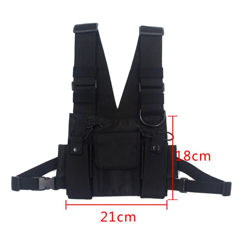 Tactical Vest Nylon Military Vest Chest Rig Pack Pouch Holster Tactical Harness Walkie Talkie Radio Waist Pack For Two Way Radio
