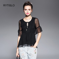 RYTISLO L To 4XL 5XL Plus Size Blouse Ruffles Tops 2017 New Summer Women Sexy Black