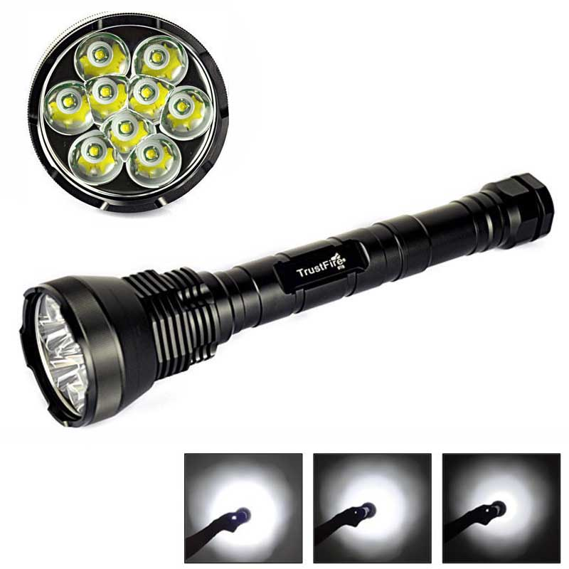 Powerful 10000 Lumen Super Bright 9X XML T6 LED Flashlight Torch Waterproof 5 Mode Flash lamp for Camping Hunting linternas super bright 72000lm 5 mode 28 xml t6 led flashlight torch flash light lamp for outdoor hunting with 4 26650 battery
