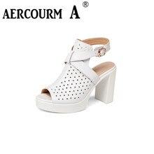 Aercourm a/женские босоножки из натуральной кожи Насосы платформы На высоких толстых каблуках женская обувь повседневная вырезами ботильоны с пряжкой женские сандалии