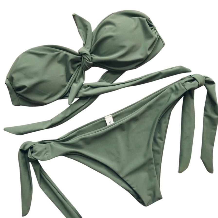 Women Sexy Solid Bikini Push-Up Padded Bow Bandage Swimwear Swimsuit Beachwear bandage halter sexy beach bikini biquinis feminin