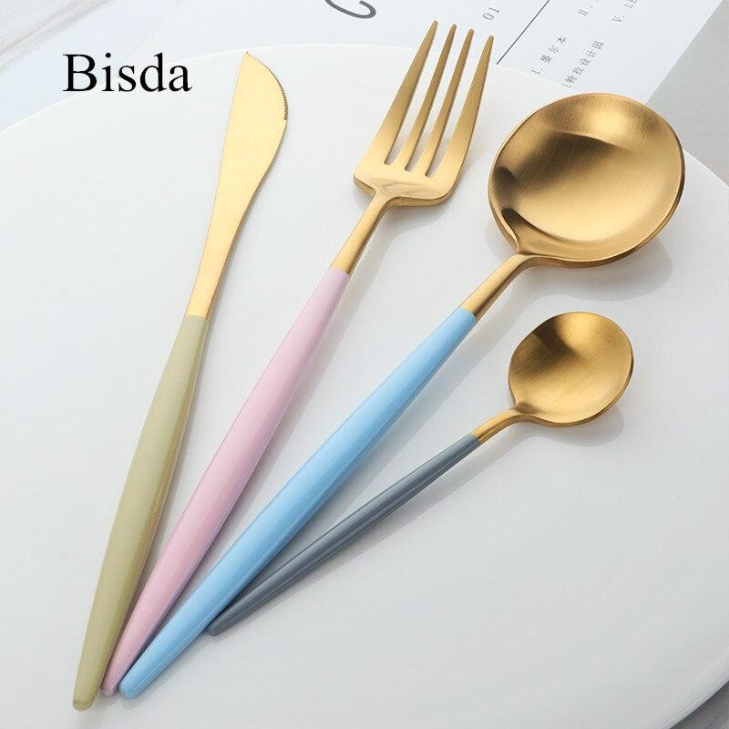 4 STÜCKE Luxus Geschirr Set Rosa geschirr 18/10 Edelstahl Besteck Matte Blau Gold Messer Gabel Set Westlichen Speisen Set