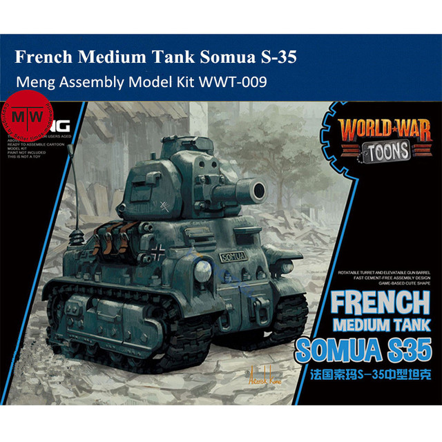 Meng WWT 009 French Medium Tank Somua S 35 Q Edition Plastic Assembly Model Kit Cute