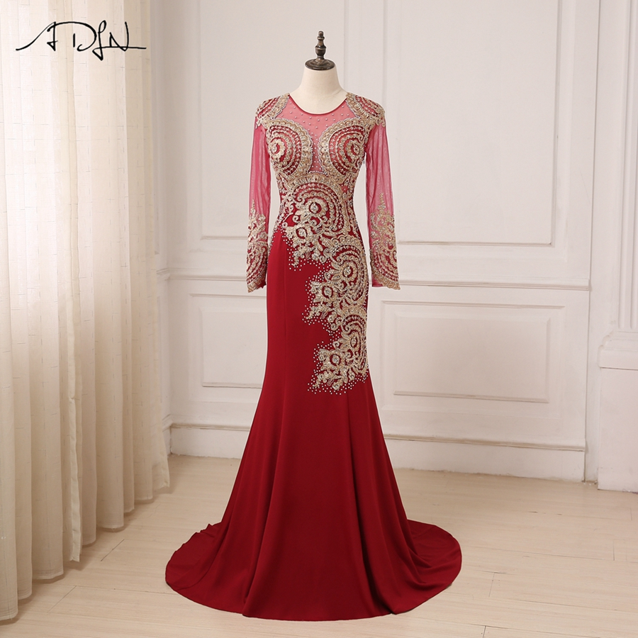 ADLN Luxury Gold Lace Applique Long   Evening     Dresses   2017 Sexy Illusion Formal Prom Party   Dress   Burgundy robe de soiree